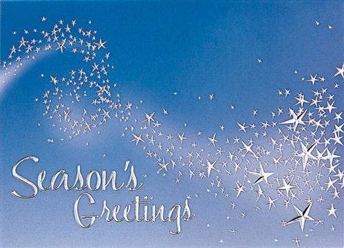 Magical Wisp of Stars on Blue Sky Holiday Greeting Card (5