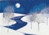 Cold Night Trees with Snow and River Holiday Greeting Card (5