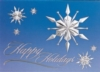 Raised Relief Snowflakes on Blue Sky Holiday Greeting Card (5