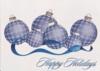 Raised Blue/ Silver Plaid Ornament Holiday Greeting Card (5
