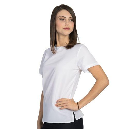 Ladies Jewel Neck Short Sleeve Blouse White