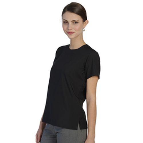 Ladies Jewel Neck Short Sleeve Blouse Black