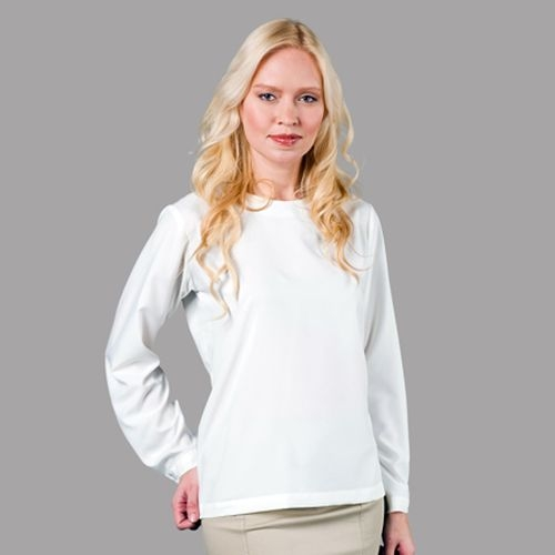 Jewel Neck Long Sleeve Blouse White