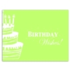 WISHES AND CAKE - GREEN (White Unlined Envelope)