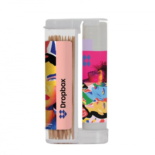 Wooden Toothpicks in a Rectangular Flip-Top Duo w/ SPF 15 Lip Balm