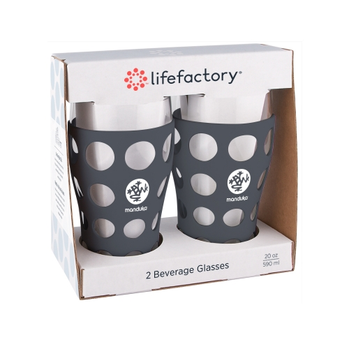 20 oz. lifefactory® Beverage Glass with Silicone Sleeve 2 Pack