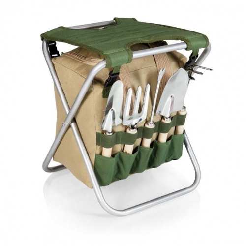 Gardener Folding Seat w/5 Gardening Tools and Removable Tote