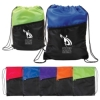 Two-Tone Poly Drawstring Backpack with Zipper Front Pocket