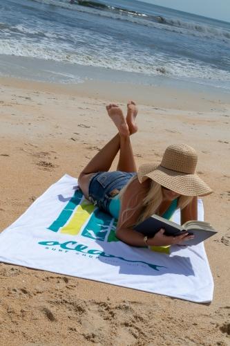 Platinum Collection White Beach Towel (Screen Print)