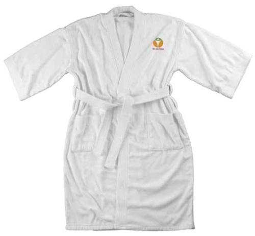 Terry Velour Bath Robe - Kimono Style - White