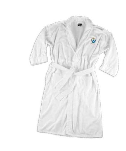 Terry Velour Bath Robe - Shawl Style - White