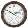 Metal Wall Clock w/ Temperature and Humidity Gauges (22