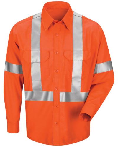 Men's Long Sleeve Poplin Dress Shirt With CSA Compliant Reflective Trim - Long Sizes