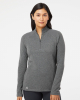 Women's Heathered Quarter-Zip Pullover With Colorblocked Shoulders