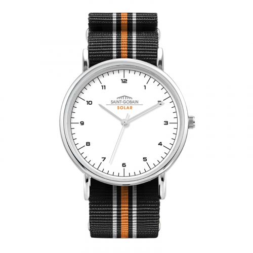 WC1552 38MM METAL SILVER CASE, 3 HAND MVMT, WHITE DIAL, NATO STRAP, FLAT MINERAL CRYSTAL, 3 ATM WTR RESISTA