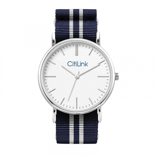 WC1556 38MM METAL SILVER CASE, 3 HAND MVMT, WHITE DIAL, NATO STRAP, FLAT MINERAL CRYSTAL, 3 ATM WTR RESISTA