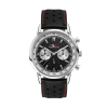 WC5594 42MM METAL SILVER CASE, CHRONOGRAPH MVMT, BLACK DIAL, LEATHER STRAP, FLAT MINERAL CRYSTAL, 3 ATM WTR
