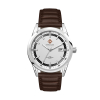 WC6236 42MM STEEL SILVER CASE, 3 HAND MVMT, SILVER DIAL, DTE DISPLAY, LEATHER STRAP, FLAT MINERAL CRYSTAL,