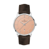 WC8118 39MM STEEL SILVER CASE, 3 HAND MVMT, DTE DISPLAY, ROSE GOLD DIAL, LEATHER STRAP, DOME MINERAL CRYSTA