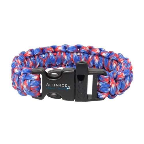 Red, White & Blue Paracord Bracelet with Whistle
