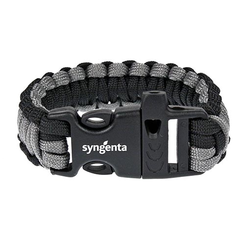 Grey & Black Paracord Bracelet with Whistle