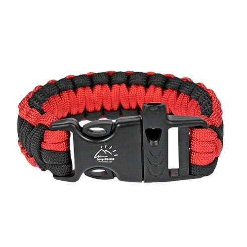 Red & Black Paracord Bracelet with Whistle