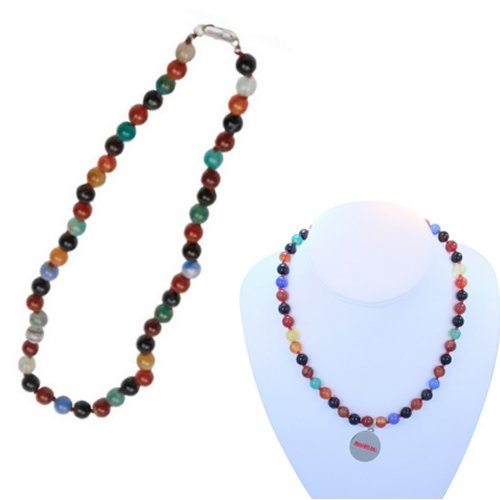 Multi Color Flower Agate Necklace