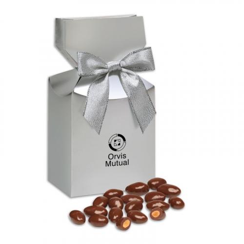 Milk Chocolate Covered Almonds Silver in Premium Delights Gift Box