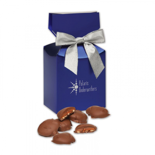 Pecan Turtles in Blue Premium Delights Gift Box