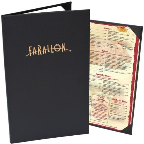 Bonded Leather Double Panel Pocket Menu Cover (8 1/2