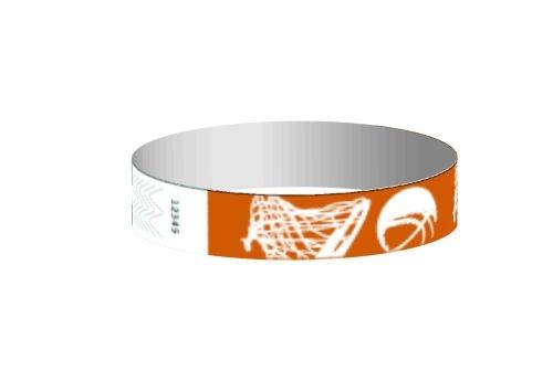 Stock Basketball Pattern Tyvek Wristband (3/4
