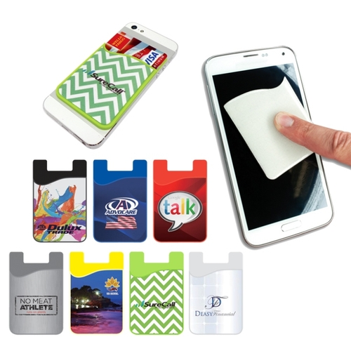 Silicon smartphone wallet with removable microfiber screen cleaner
