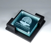 Award-Clear Glass Coaster  with wooden holder