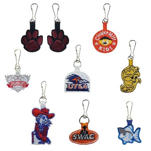 Custom Embroidered 2 Sided Zipper Pulls/Tags
