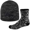 Fashion Fuzzy Feet and Marled Knit Beanie Cap Combo