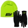 Sports Performance Runners Text Gloves and Beanie Cap Combo