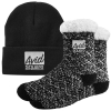 Sherpa Lined Knit Roll Cuff Beanie Cap and Fuzzy Socks Combo