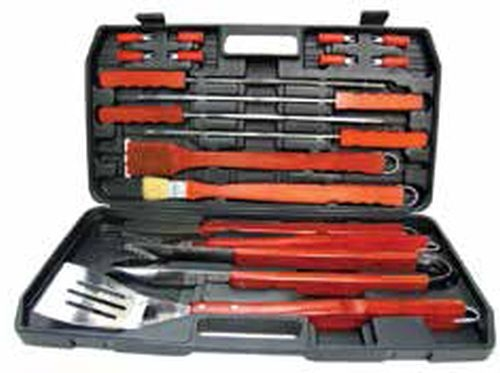 Barbeque grill set with plastic case