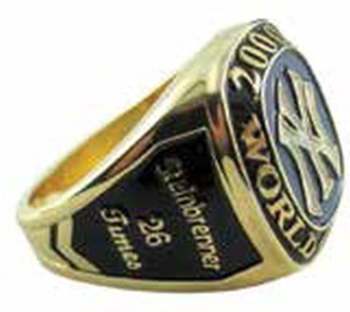Custom gold ring with black enamel fill