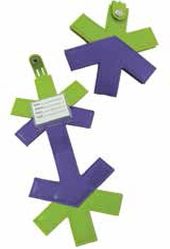 Custom shaped luggage tag with PMS matched colors