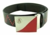 Leather printed belt with custom printed emboss buckle