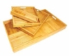 Set of 4 bamboo boxes in assorted sizes with cut handles