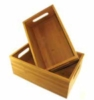 Set of 2 bamboo boxes with cut handles