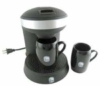 Mini coffee brewer with two cups and decoration