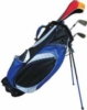 Golf bag with stand, three-tone construction and zippered pockets
