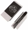 Stainless steel money clip with enamel inlay