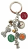 Custom shaped key ring with different custom charms
