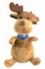 Custom moose plush toy with printed logoed scarf