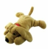 Custom plush dog with heavy nap, poly & bean fill, and embroidered logo