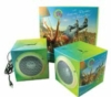 Set of 2 fold-up portable PVC speakers capable of full 4-color process customization
